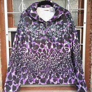 Chico's Zenergy purple black gray print zip rain 2